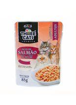 Racao-Umida-Hercosul-Three-Cats-Adultos-Iscas-de-Salmao-ao-Molho